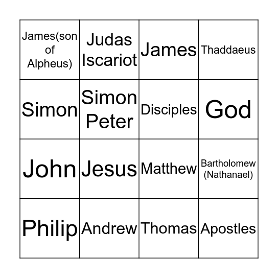 Disciple Bingo Card