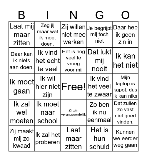Reactieve Bingo kaart Bingo Card