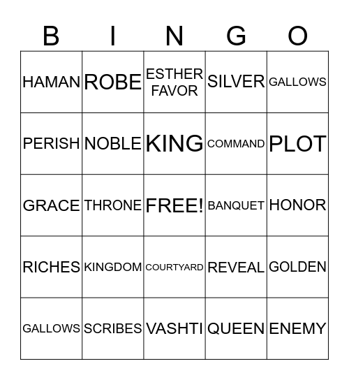 One Night with the King Bingo Card