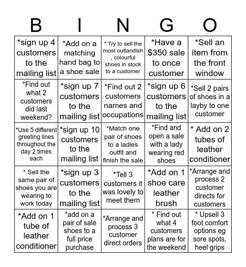 5 Days of Bingo  Bingo Card