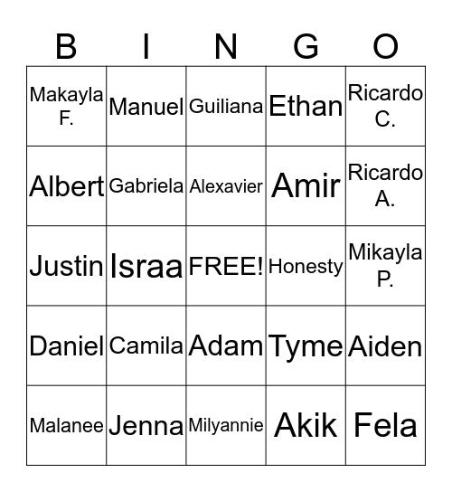 Room 113 Bingo Card