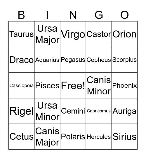 Bright Star Bingo Card