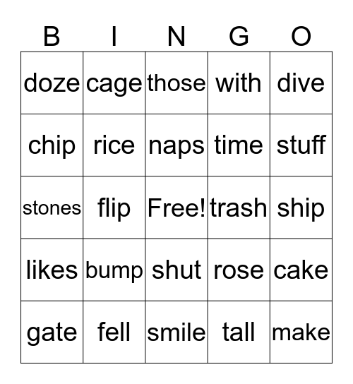 1st grade long and short vowel A,I, O Bingo Card