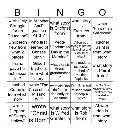8th Grade Lit Test 6 Bingo Card