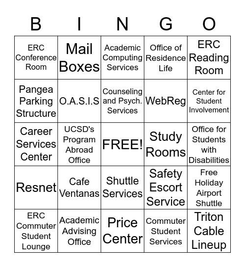 ERC Resources  Bingo Card