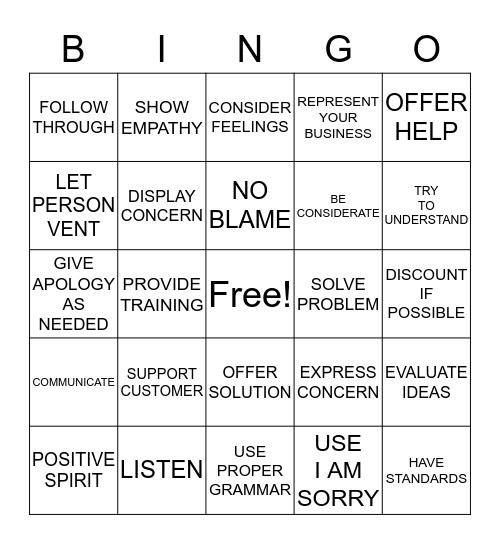 HANDLING CUSTOMER COMPLAINTS Bingo Card