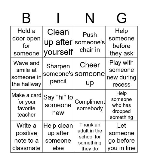 Random Acts of Kindness Bingo Card