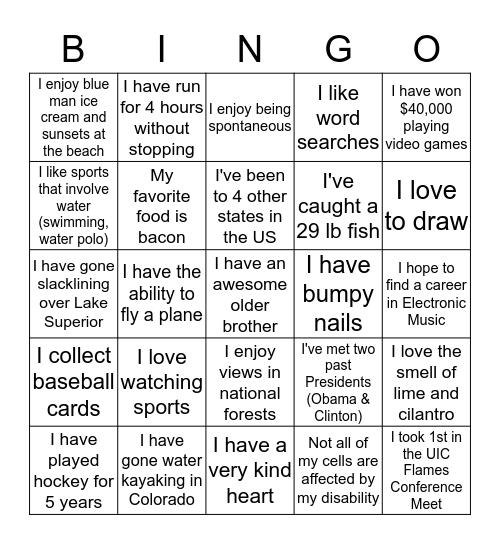 Who Am I??? Bingo Card