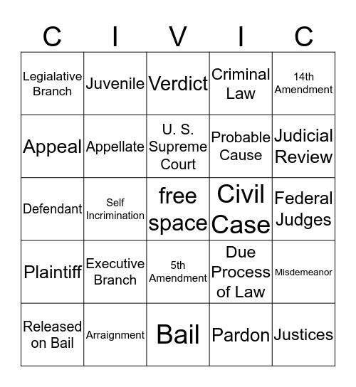 CIVICS and ECONOMICS Bingo Card