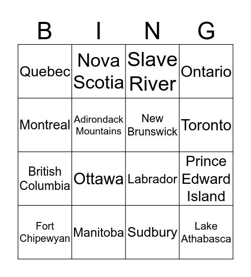 Canadian Shield Region Bingo Card