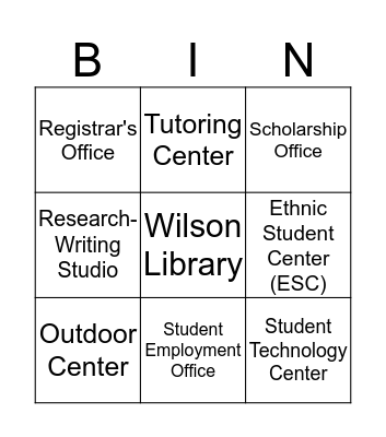 WWU Student Campus Resources Bingo Game Bingo Card