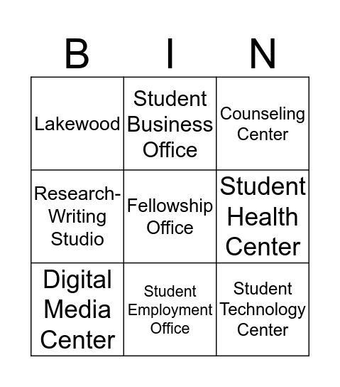 WWU Student Campus Resources Bingo Game Bingo Card