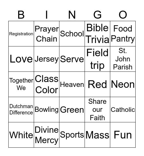 Catholic Schools Week Bingo Card