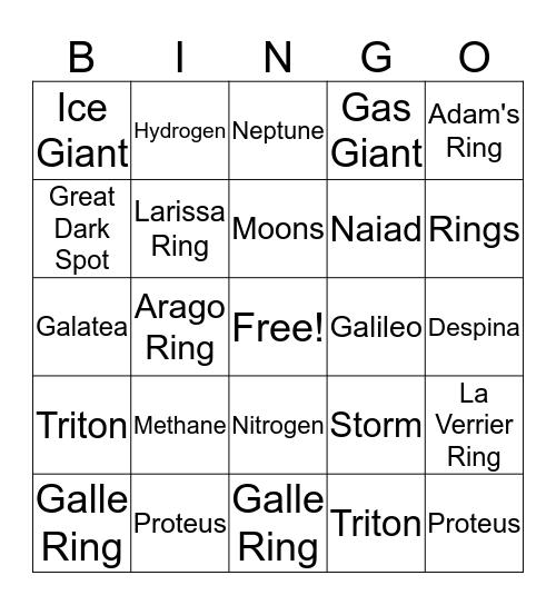 Neptune Bingo Card