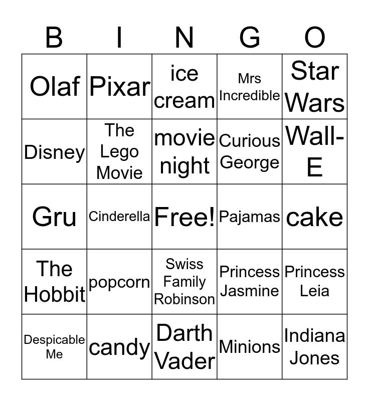 Movie Bingo! Bingo Card
