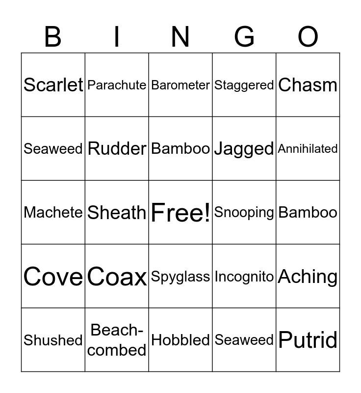 Nim's Island Bingo Card