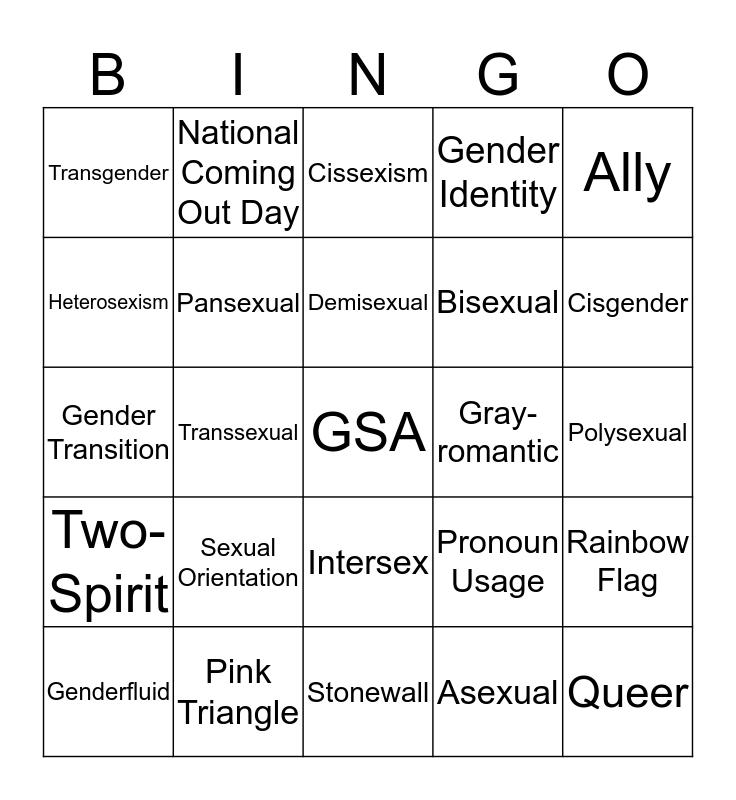 LGBTQ Terminology BINGO Card