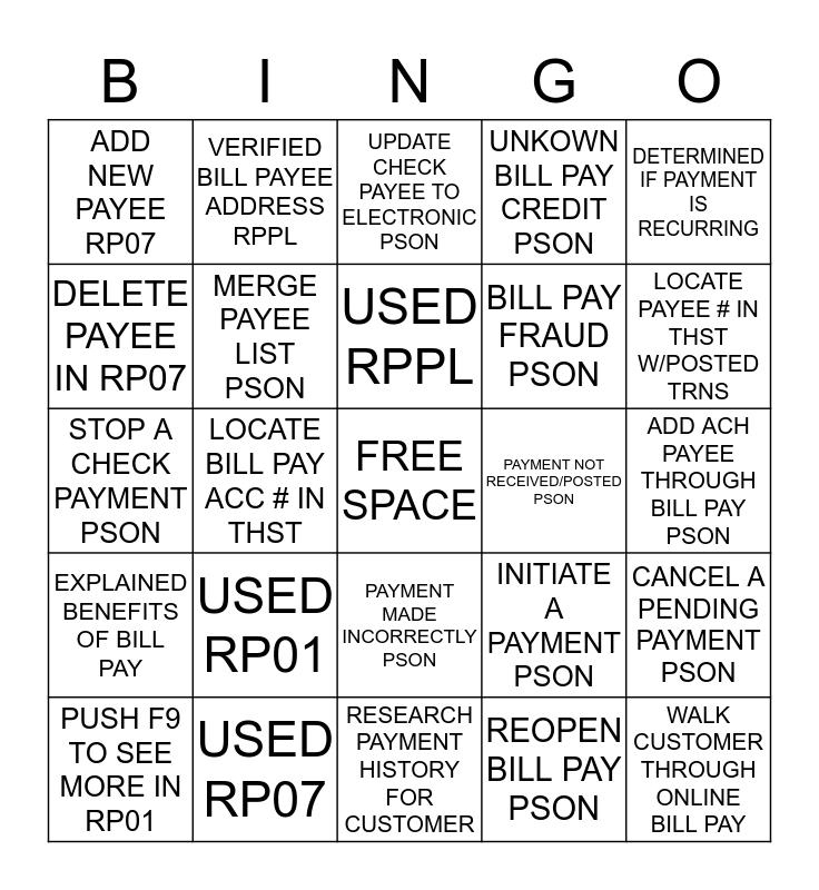 Bill Pay Bingo Card