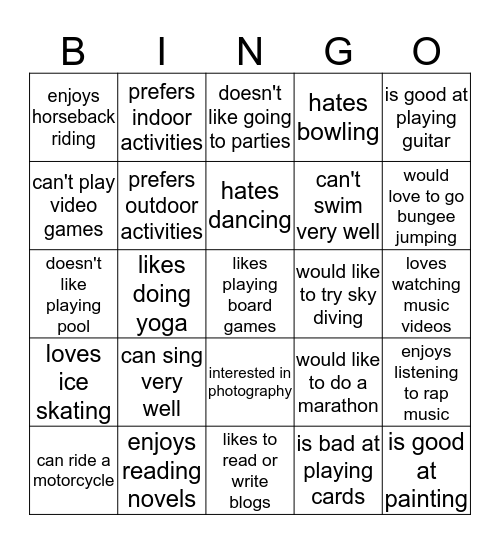 Interests & Hobbies Bingo Card