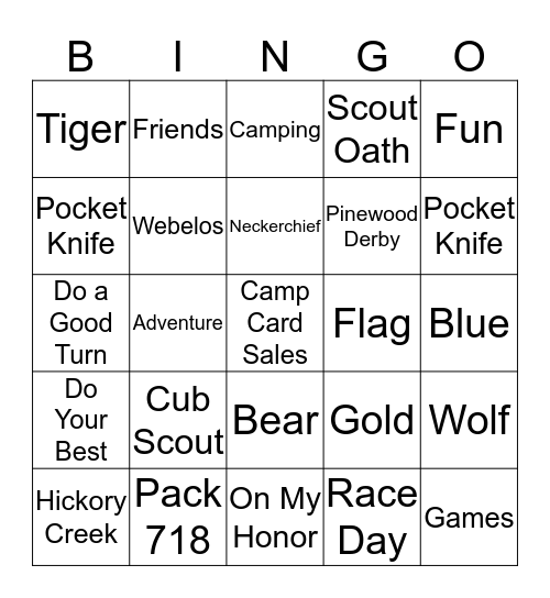 Pinewood Derby Bingo Card