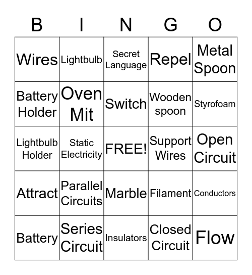 Electric Circiuts Bingo Card