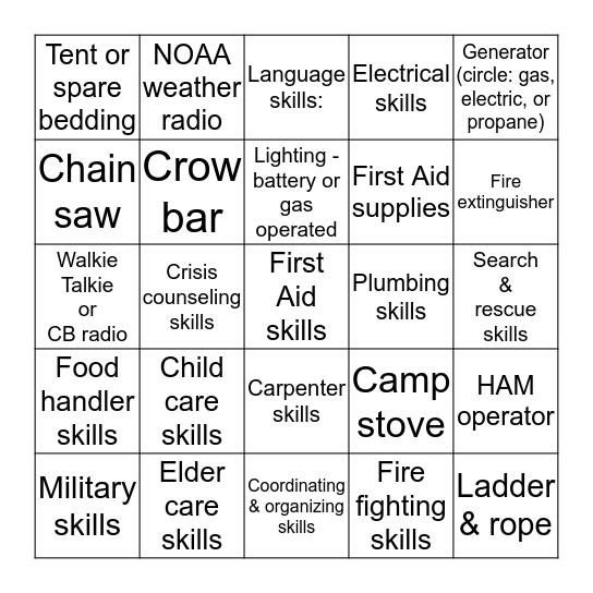 SKILLS INVENTORY Bingo Card