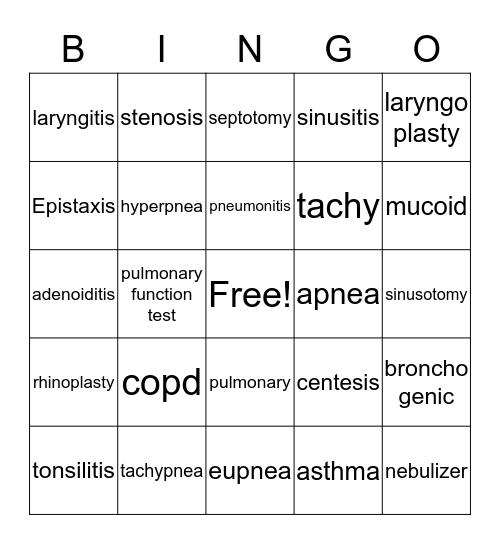 respiratory system Bingo Card