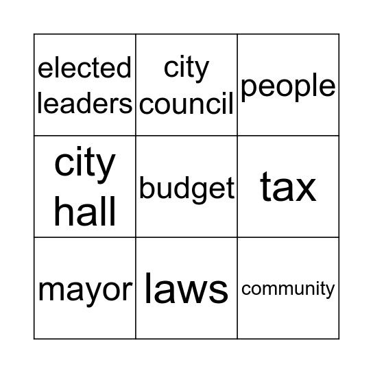 Local Government Bingo Card