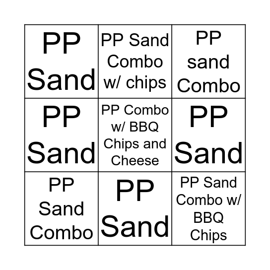Pulled Pork Bingo Card