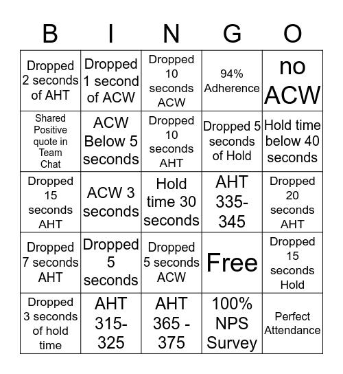 AHT BINGO  Bingo Card