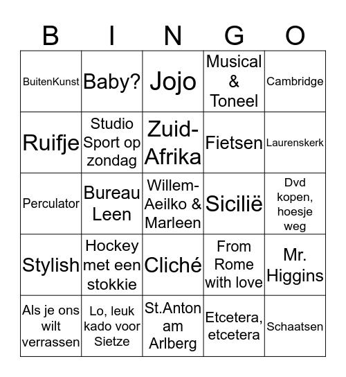 Laat je verrassen door Willem-Aeilko & Marleen Bingo Card