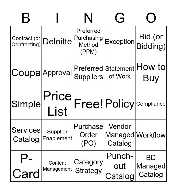 Mustang Bingo Card