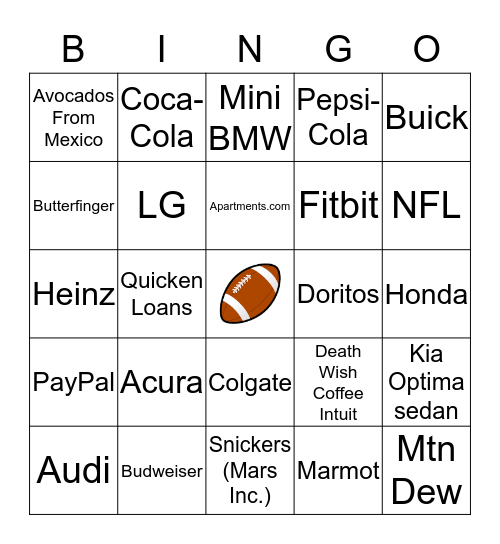 SUPER BOWL 50 Bingo Card