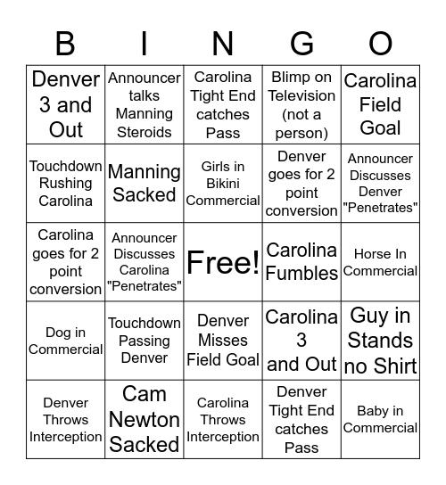 Superbowl 50 Bingo Card