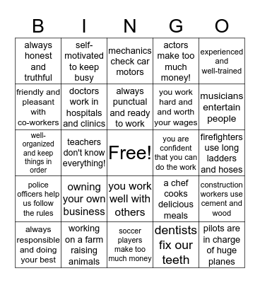 WORK WORK WORK Bingo Card