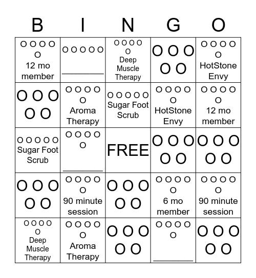 Massage Bingo Card