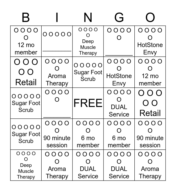 Massage Envy Turnersville February Bingo Card