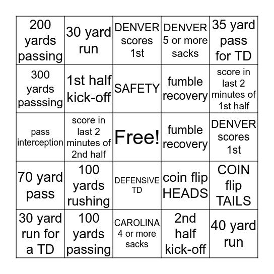 SUPER BOWL 2016 Bingo Card