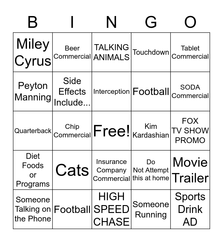 SUPERBOWL 2016 Bingo Card