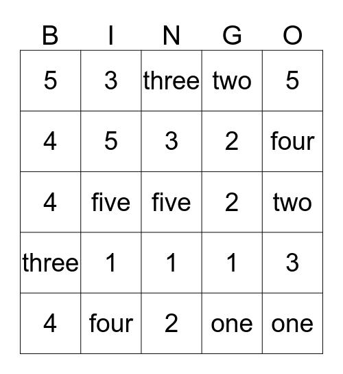 Numbers 1-5 Bingo Card