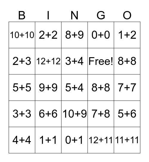 Math Bing Bingo Card