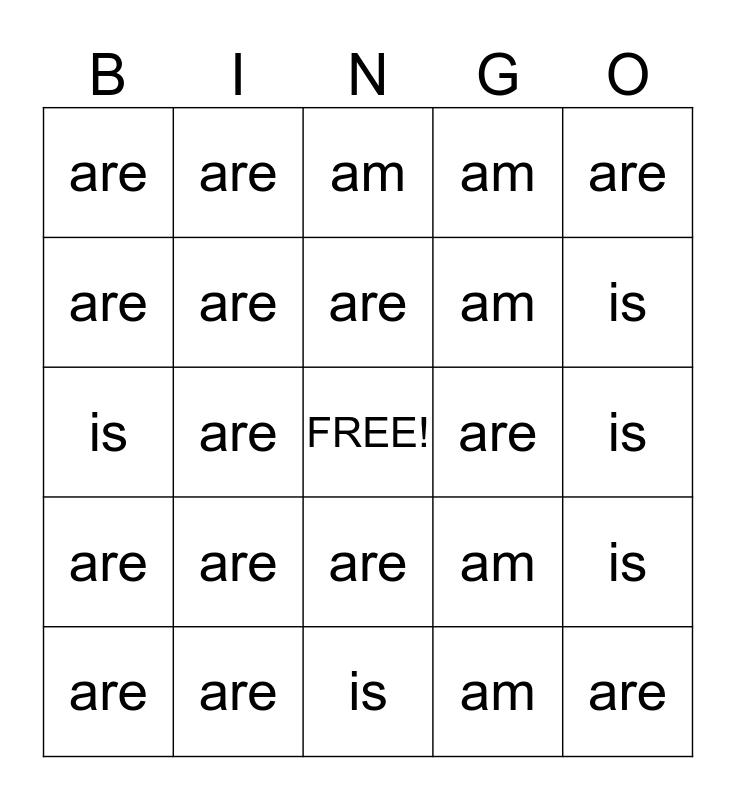 """To Be"" Bingo Card"