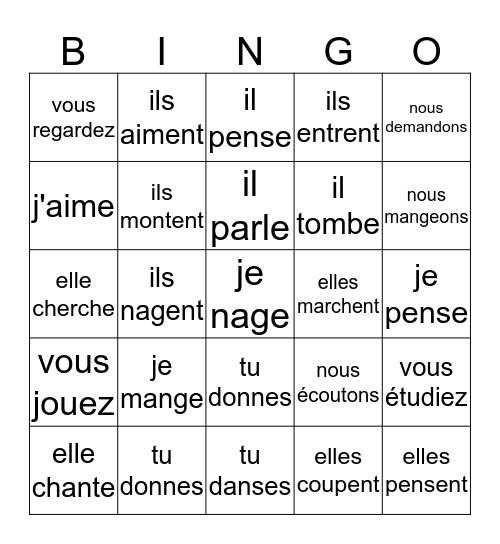 Les verbes en -er au présent Bingo Card