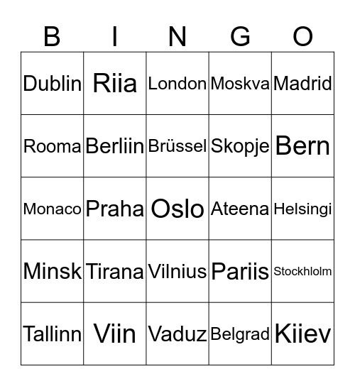 Euroopa pealinnad Bingo Card