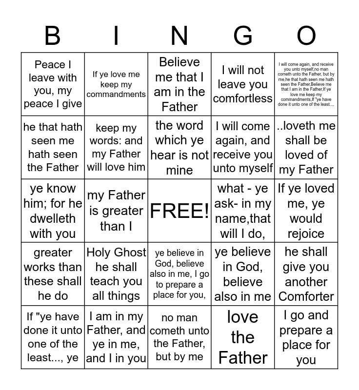 John Chapter 14 Bingo Card