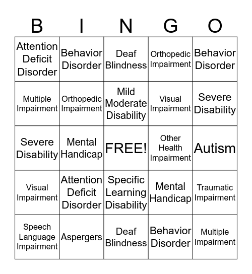Special Education Disabilities Bingo Card