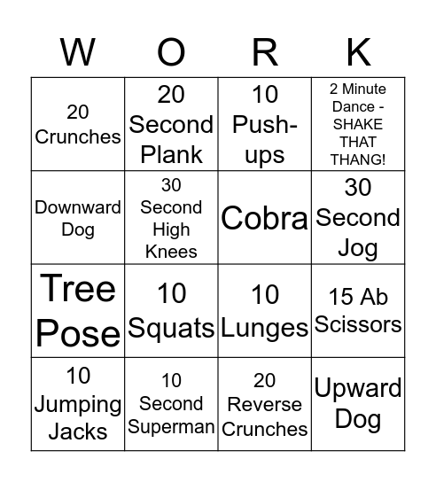 Wacky Wednesday Bingo Card