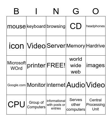 Computer Terms Bingo Card