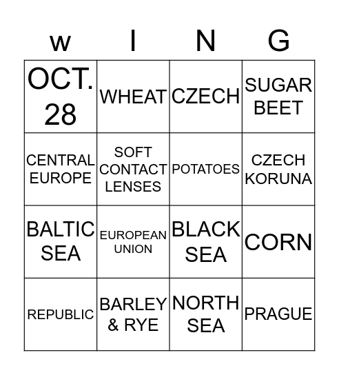 Czech Republic Bingo Card