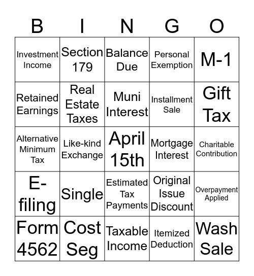 Tax Team Bingo! Bingo Card